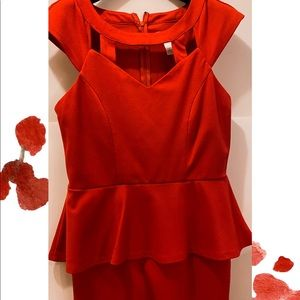 """Hot Red mid dress size """"L"""""""